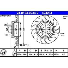 Bremsscheibe Bremsscheibendicke: 24,0mm, Lochanzahl: 5, Ø: 370,0mm mit OEM-Nummer 424234