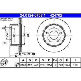 ATE  24.0124-0702.1 Bremsscheibe Bremsscheibendicke: 24,0mm, Lochanzahl: 5, Ø: 280,0mm