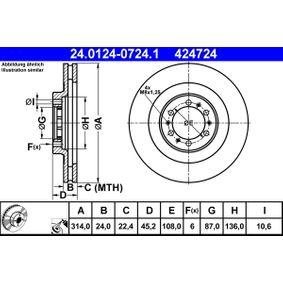Bremsscheibe Bremsscheibendicke: 24,0mm, Lochanzahl: 6, Ø: 314,0mm mit OEM-Nummer 4247-24