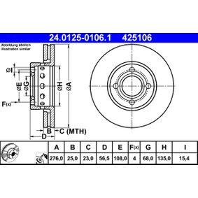 ATE Bremsscheibe 24.0125-0106.1 für AUDI 80 (8C, B4) 2.8 quattro ab Baujahr 09.1991, 174 PS