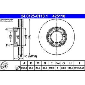 ATE  24.0125-0118.1 Bremsscheibe Bremsscheibendicke: 25,0mm, Lochanzahl: 5, Ø: 257,0mm