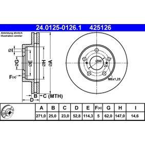 ATE  24.0125-0126.1 Bremsscheibe Bremsscheibendicke: 25,0mm, Lochanzahl: 5, Ø: 271,0mm