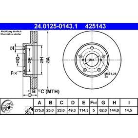 Brake Disc 24.0125-0143.1 RAV 4 II (CLA2_, XA2_, ZCA2_, ACA2_) 2.4 4WD MY 2004