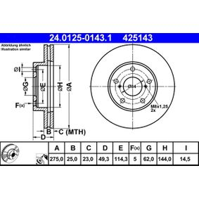 Disco de freno 24.0125-0143.1 RAV 4 II (CLA2_, XA2_, ZCA2_, ACA2_) 2.4 4WD ac 2003