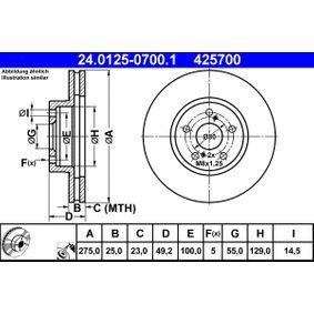 Disque de frein Epaisseur du disque de frein: 25,0mm, Nbre de trous: 5, Ø: 275,0mm avec OEM numéro 43512 20710