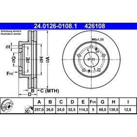 Bomba de Inyección NISSAN SERENA (C23M) 2.3 D de Año 01.1995 75 CV: Disco de freno (24.0126-0108.1) para de ATE