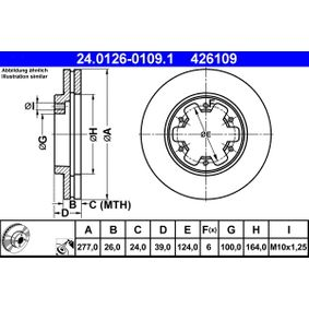 Bremsscheibe Bremsscheibendicke: 26,0mm, Lochanzahl: 6, Ø: 277,0mm mit OEM-Nummer 1 954 433