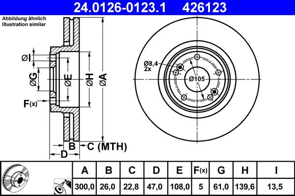ATE  24.0126-0123.1 Brake Disc Brake Disc Thickness: 26,0mm, Num. of holes: 5, Ø: 300,0mm