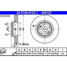 Bremsscheibe Bremsscheibendicke: 26,0mm, Lochanzahl: 5, Ø: 300,0mm mit OEM-Nummer 8671016878