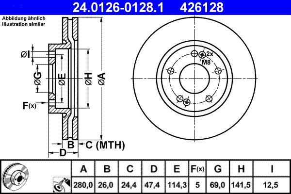 ATE  24.0126-0128.1 Bremsscheibe Bremsscheibendicke: 26,0mm, Lochanzahl: 5, Ø: 280,0mm