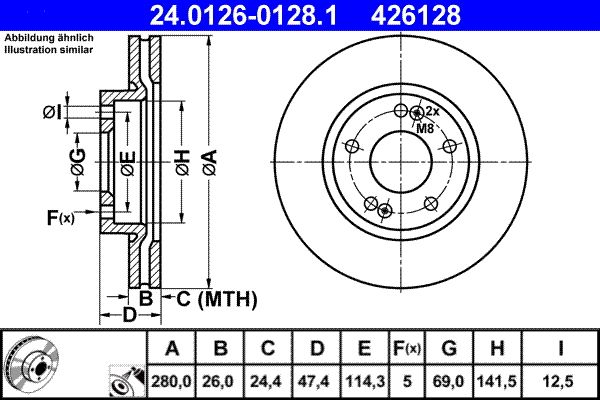 ATE  24.0126-0128.1 Brake Disc Brake Disc Thickness: 26,0mm, Num. of holes: 5, Ø: 280,0mm