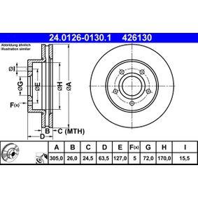 Válvula EGR JEEP GRAND CHEROKEE II (WJ, WG) 2.7 CRD 4x4 de Año 10.2001 163 CV: Disco de freno (24.0126-0130.1) para de ATE