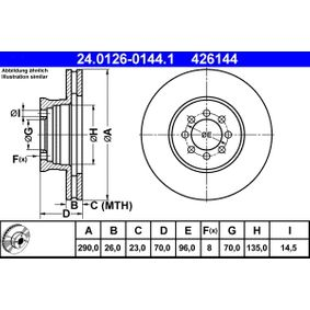 ATE  24.0126-0144.1 Bremsscheibe Bremsscheibendicke: 26,0mm, Lochanzahl: 8, Ø: 290,0mm