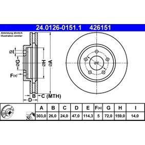 ATE  24.0126-0151.1 Bremsscheibe Bremsscheibendicke: 26,0mm, Lochanzahl: 5, Ø: 303,0mm