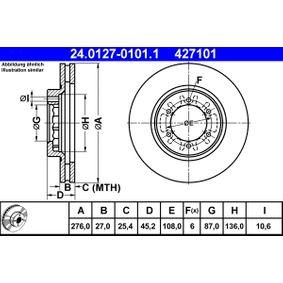 ATE  24.0127-0101.1 Bremsscheibe Bremsscheibendicke: 27,0mm, Lochanzahl: 6, Ø: 276,0mm