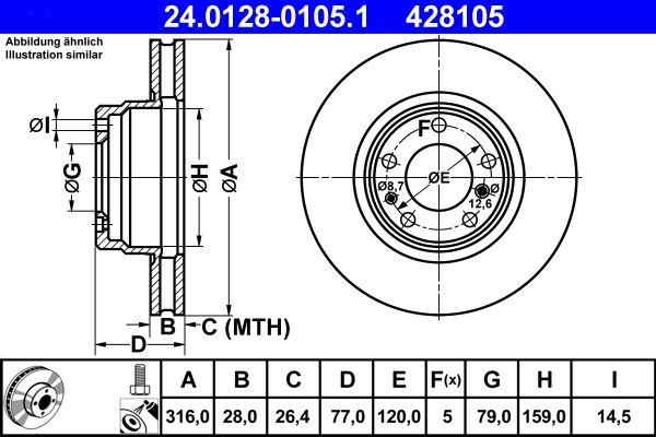ATE  24.0128-0105.1 Bremsscheibe Bremsscheibendicke: 28,0mm, Lochanzahl: 5, Ø: 316,0mm
