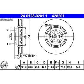 ATE  24.0128-0201.1 Bremsscheibe Bremsscheibendicke: 28,0mm, Lochanzahl: 5, Ø: 321,0mm