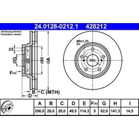 ATE  24.0128-0212.1 Bremsscheibe Bremsscheibendicke: 28,0mm, Lochanzahl: 5, Ø: 296,0mm