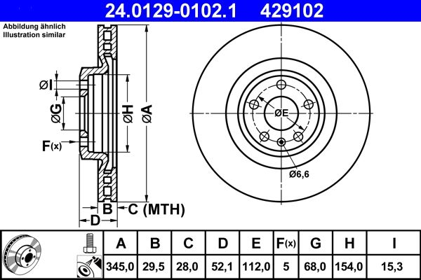 ATE  24.0129-0102.1 Brake Disc Brake Disc Thickness: 29,5mm, Num. of holes: 5, Ø: 345,0mm