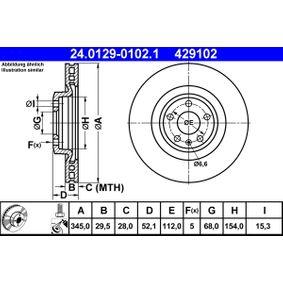Brake Disc Brake Disc Thickness: 29,5mm, Num. of holes: 5, Ø: 345,0mm with OEM Number 8K0 615 301K