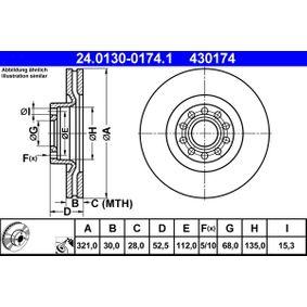 ATE  24.0130-0174.1 Bremsscheibe Bremsscheibendicke: 30,0mm, Lochanzahl: 5, Ø: 321,0mm