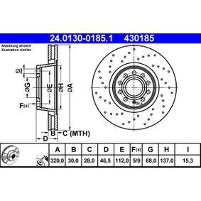 ATE Bremsscheibe 24.0130-0185.1 für AUDI A4 Avant (8E5, B6) 3.0 quattro ab Baujahr 09.2001, 220 PS