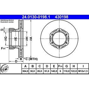 ATE  24.0130-0198.1 Bremsscheibe Bremsscheibendicke: 30,0mm, Lochanzahl: 6, Ø: 304,0mm