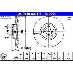 ATE  24.0130-0201.1 Bremsscheibe Bremsscheibendicke: 30,0mm, Lochanzahl: 5, Ø: 334,0mm
