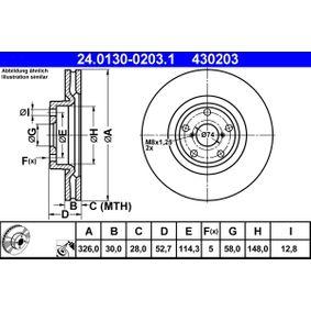 Bremsscheibe 24.0130-0203.1 IMPREZA Schrägheck (GR, GH, G3) 2.5 STI CS400 AWD Bj 2013