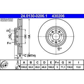 ATE  24.0130-0206.1 Bremsscheibe Bremsscheibendicke: 30,0mm, Lochanzahl: 5, Ø: 330,0mm