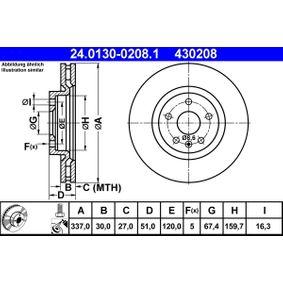 ATE  24.0130-0208.1 Bremsscheibe Bremsscheibendicke: 30,0mm, Lochanzahl: 5, Ø: 337,0mm