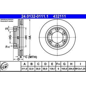 Bremsscheibe Bremsscheibendicke: 32,0mm, Lochanzahl: 6, Ø: 311,0mm mit OEM-Nummer 43512-60090