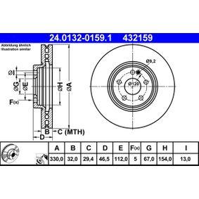 Bremsscheibe Bremsscheibendicke: 32,0mm, Lochanzahl: 5, Ø: 330,0mm mit OEM-Nummer 210.421.23.12