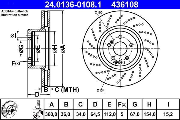 ATE  24.0136-0108.1 Bremsscheibe Bremsscheibendicke: 36,0mm, Lochanzahl: 5, Ø: 360,0mm