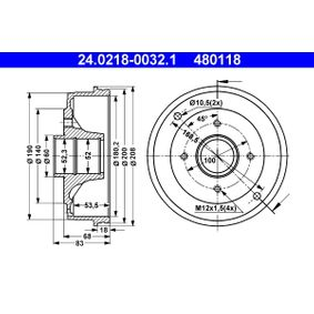 Bremstrommel Br.Tr.Durchmesser außen: 208,0mm mit OEM-Nummer 77 00 783 030