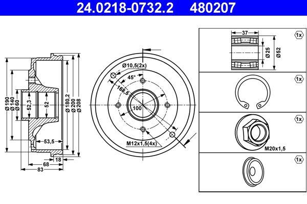 ATE  24.0218-0732.2 Bremstrommel Br.Tr.Durchmesser außen: 208,0mm