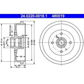 Bremstrommel Trommel-Ø: 200,0, Br.Tr.Durchmesser außen: 240,0mm mit OEM-Nummer 115 330 192