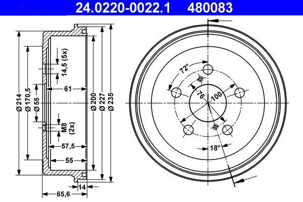 ATE  24.0220-0022.1 Bremstrommel Br.Tr.Durchmesser außen: 235,0mm