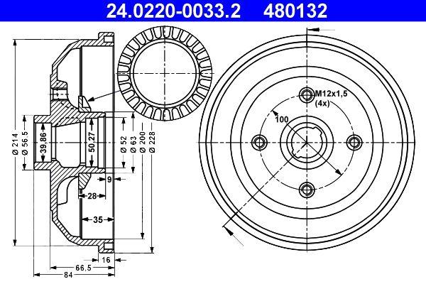ATE  24.0220-0033.2 Bremstrommel Br.Tr.Durchmesser außen: 228,0mm