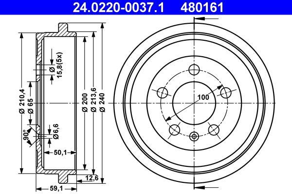 ATE  24.0220-0037.1 Brake Drum Outer Br. Sh. Diameter: 240,0mm