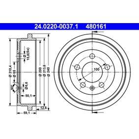 ATE  24.0220-0037.1 Tambor de freno Ø Tambor: 200,0, Diám. ext. tambor: 240,0mm