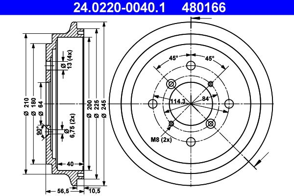 ATE  24.0220-0040.1 Bremstrommel Br.Tr.Durchmesser außen: 245,0mm