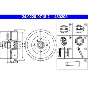 Bremstrommel Trommel-Ø: 200,0, Br.Tr.Durchmesser außen: 240,0mm mit OEM-Nummer 115330192