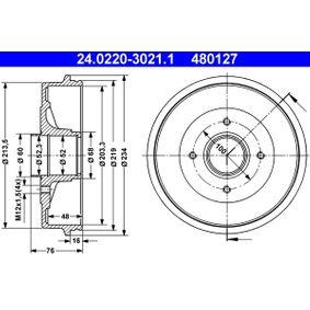 Bremstrommel Br.Tr.Durchmesser außen: 234,0mm mit OEM-Nummer 77 00 818 346