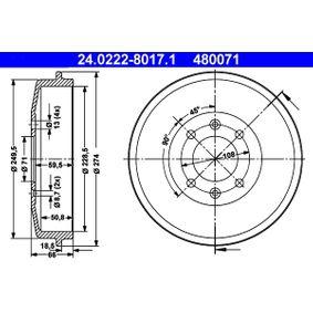 Bremstrommel Br.Tr.Durchmesser außen: 274,0mm mit OEM-Nummer 424724
