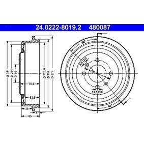 Bremstrommel 24.0222-8019.2 Scénic 1 (JA0/1_, FA0_) 1.6 Bj 2001