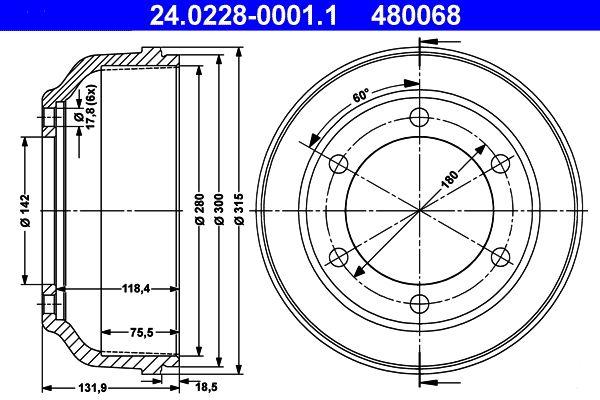 ATE  24.0228-0001.1 Brake Drum Outer Br. Sh. Diameter: 315,0mm