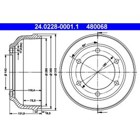 Brake Drum Outer Br. Sh. Diameter: 315,0mm with OEM Number 6198026