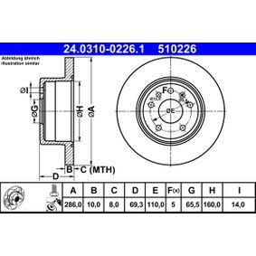 Bremsscheibe Bremsscheibendicke: 10,0mm, Lochanzahl: 5, Ø: 286,0mm mit OEM-Nummer 4 839 338