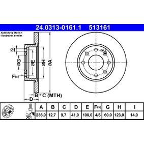 ATE Disco de travão 24.0313-0161.1 com códigos OEM 93182290